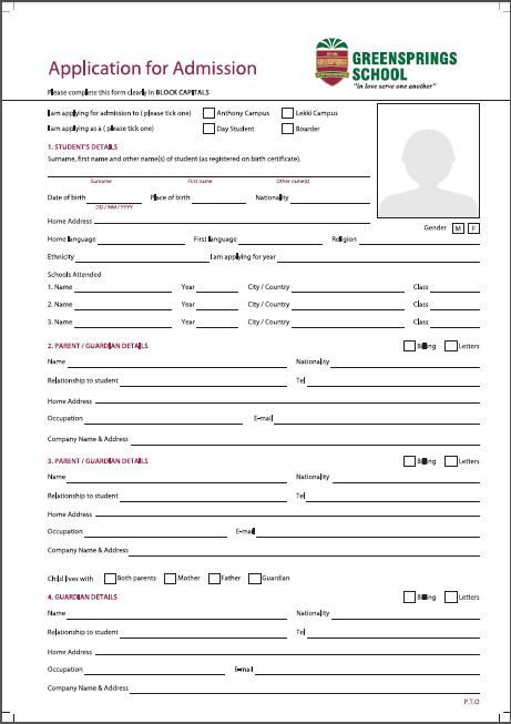 Application Form Admission — Greensprings School