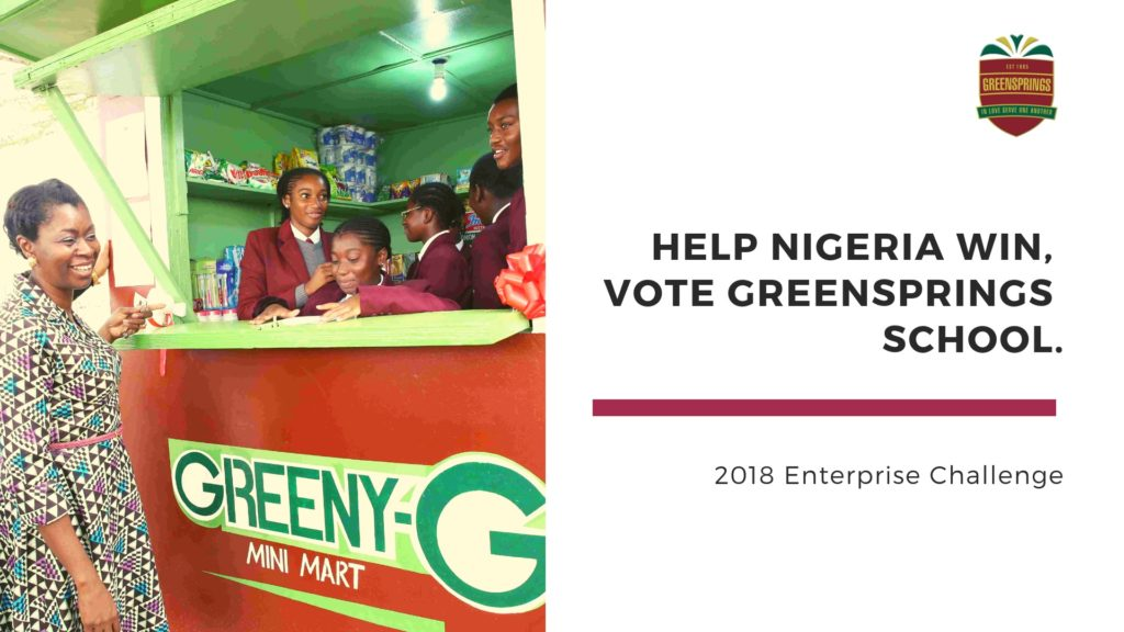 Help Nigeria Win, Vote Greensprings School.